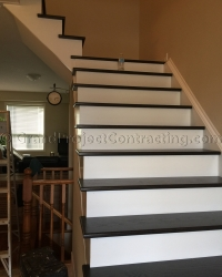 Wood Stairs and metal iron railing