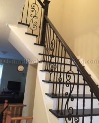 Wood Stairs and iron railing