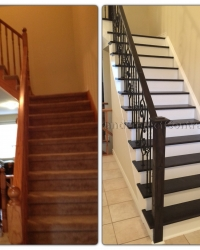 Carpeted stairs to Wooden stairs